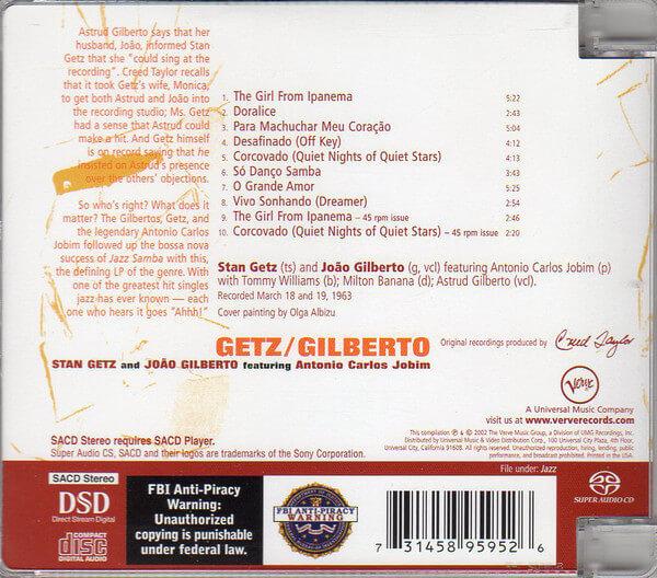 Audio Elite Stan Getz And João Gilberto Featuring Antonio Carlos Jobim – Getz Gilberto - SACD - Back